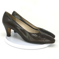 "Salvatore Ferragamo Womens Brown Leather Pump Shoes Size 8.5 Block Heel 2"""