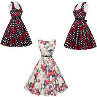 Womens Sleeveless Swing Skater Skirt Printing Vintage Ladies Flared Party Dress