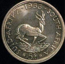 South Africa Crown Five Shillings 1953 PROOF Elizabeth II .500 Silver (T117)