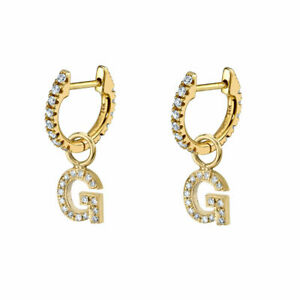 Diamond Pave Initial G Charm Hoop Earrings 14k Yellow Gold VS1 Clarity F Color