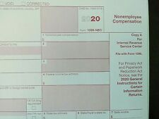2020: 5 Sheets 1099-Nec Irs Nonemployee Compensation & 3=1096 Transmittal Forms