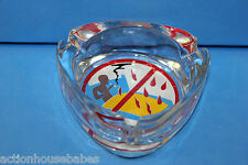 NO SMOKING IN BED GLASS ASHTRAY - Fire / Smoke / Cigarettes - Free US Shipping