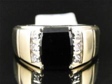 10K Mens Yellow Gold Round Diamond 10MM Black Onyx Fashion Wedding Band Ring