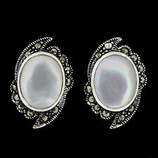 Sterling Silver Marcasite & Mother of Pearl Vintage Style Stud Earrings RRP $90