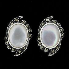 Sterling Silver Marcasite & Mother of Pearl Vintage Style Stud Earrings RRP $90