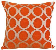 "Orange & Cream 18"" Luxury Soft Chenille Cushion Cover Oh BNWT"
