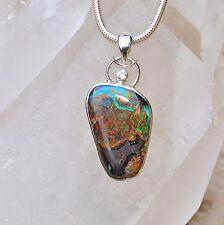 Boulder Opal Anhänger, 925er Silber, Edelsteinanhänger (11886), mit Brilliant