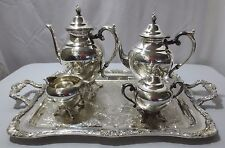 5 Piece Wm Rogers International Silver Tea~Coffee~Cream~Sugar Wait Tray