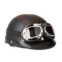 Casco de Moto Scooter Vintage Retro Cuero Ajustable Visera Gafas y Bufanda Marro