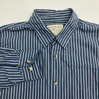Wrangler Button Up Shirt Mens Large Long Sleeve Blue White Striped Casual Cotton