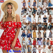 Womens Holiday Floral Mini Playsuit Shorts Jumpsuit Summer Beach Dress Sundress