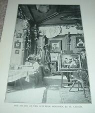 1903 Antique Print STUDIO OF SCULPTOR MORODER AT ST ULRICH The Dolomites Italy