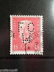 ALLEMAGNE EMPIRE GERMANY 1928-32, timbre perforé 405, oblitéré, PERFIN STAMP AB