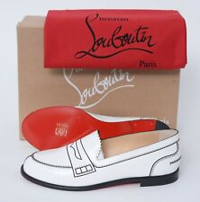 NIB CHRISTIAN LOUBOUTIN Mocalaureat Flat Calf White Leather Loafers Shoes 39 1/2