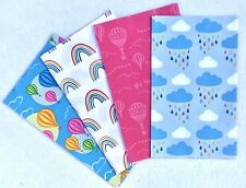 4 Hot Air Balloons Blue Pink 100% Cotton Fat Eighths Fabric Squares 22.5 x 55cm