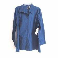 St Johns Bay Shirt Stretch Prussian Blue Button Down Size 1X  Tag  NWT #A10