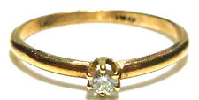 ANTIQUE DECO NOUVEAU 14K YELLOW GOLD SMALL DIAMOND SOLITAIRE WEDDING RING BAND