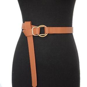 Women PU Leather Belt Female Tie Obi Waistband Black Brown Leisure Bow Waistband