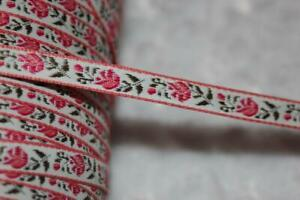 "10 yards white bubblegum pink olive woven jacquard ribbon 1/4"" wide"