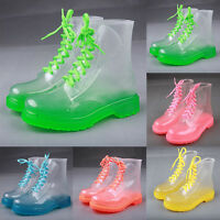 Womens Clear PVC Jelly Rain Boots Lace Up Low Ankle Flat Rubber Plastic Shoes