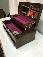 Vintage Wood Music Box Trinket Box Jewelry Box , Mirror , Music Stash Box/  Key