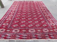 Old Hand Made Traditional Vintage Oriental Wool Rich Red Large Carpet 384x267cm
