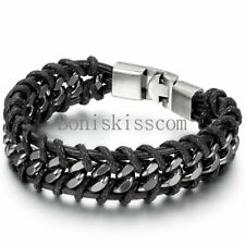 Black Braided Leather Silver Stainless Steel Cuban Chain Men's Bracelet Bangle