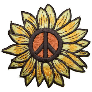 """Peace Sign Sunflower Applique Patch - Flower, Bloom Badge 2.5"""" (Iron on)"""