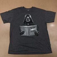 Star Wars Men's XL Gray How To Be A Better Boss Dark Side Darth Vader T-Shirt
