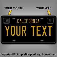California Black Your Text Personalized Custom Aluminum License Plate Tag