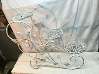 Vintage Wire 3 Tier White Shabby  Plant Stand Shelf With Butterflies