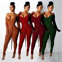 Womens Jumpsuit Off Shoulder Clubwear Bodycon Rompers Long Sleeve Playsuit Slim