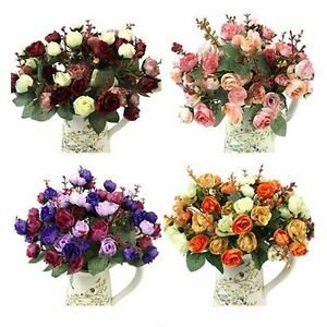 21pcs Artificial Rose Flowers Fake Flower Bouquet for Wedding Party Home Decor g