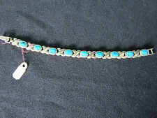Turquoise Bracelet X O Style 925 Sterling Silver S/S 7 inches Kisses Hugs NWT