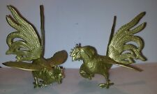 More details for vintage brass fighting cockerels/roosters ornaments