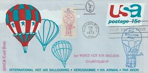 1973 USA cover Private Post - Doc`s Lokal Post 1st World Hot Air Balloon Champns