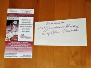 Marshall Goldberg signed 1930-40s Chicago Cardinals Pitt Index Card JSA #F43119