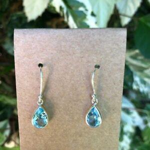 Blue Topaz Earrings Sterling Silver Teardrop