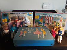 Vintage Barbie Lot, Playsets, Doll Case and 4 Vintage Dolls