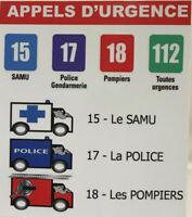 Autocollant adhésif Stickers Appels d'urgence Police Samu Pompier