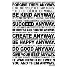 Mother Teresa Anyway Quote Motivational Poster Print (13x19) Wall Art Home Decor