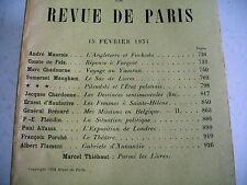 LA REVUE DE PARIS n° 4 - 1934 revue littéraire MAUROIS MAUGHAM ALFASSA etc