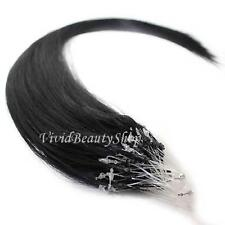 25 Micro Loop Ring Beads I Tip Indian Remy Human Hair Extensions Black #1 0.8g