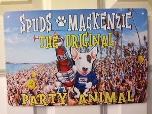New BUD LIGHT BEER  & SPUDS MACKENZIE The Original Party Animal  METAL Sign 8x12
