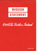 VINTAGE 1989 'MISSION STATEMENT COCA COLA BOTTLERS IRELAND'! COKE! GOALS!