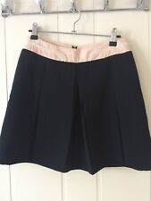 Paige Flynn Korean Designer Navy Pleated Lace Trim Skirt Size 8
