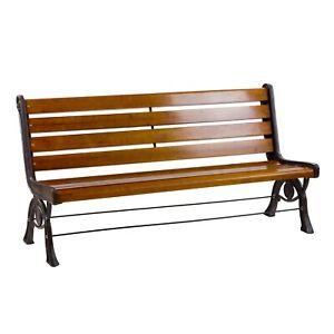Holz Metall Gartenbank 3-Sitzer Sitz-Bank Parkbank Metallbank Balkon Gartenmöbel