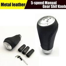 5 Speed Manual Gear Stick Shift Knob Metal & leather Made w/ three apron fitting