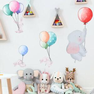 Cartoon Elephant Rabbit Balloon Wall Decal Nursery Baby Room Decor Art Sticker