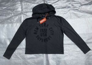 "BNWT LADIES "" SUPERDRY "" FADED BLACK CROP HOODIE - MEDIUM !"